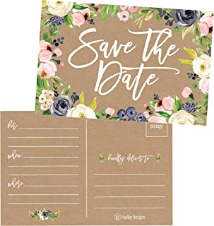 25 Rustic Floral Save The Date Cards For Wedding, Engagement, Anniversary, Baby Shower, Birthday Party, Kraft Flower Save The Dates Postcard Invitations, Simple Blank Event Announcements