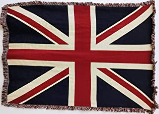 Pure Country Weavers English Union Jack Woven Throw Blanket with Fringe by Artisan Textile Mill USA 70x50 Cotton
