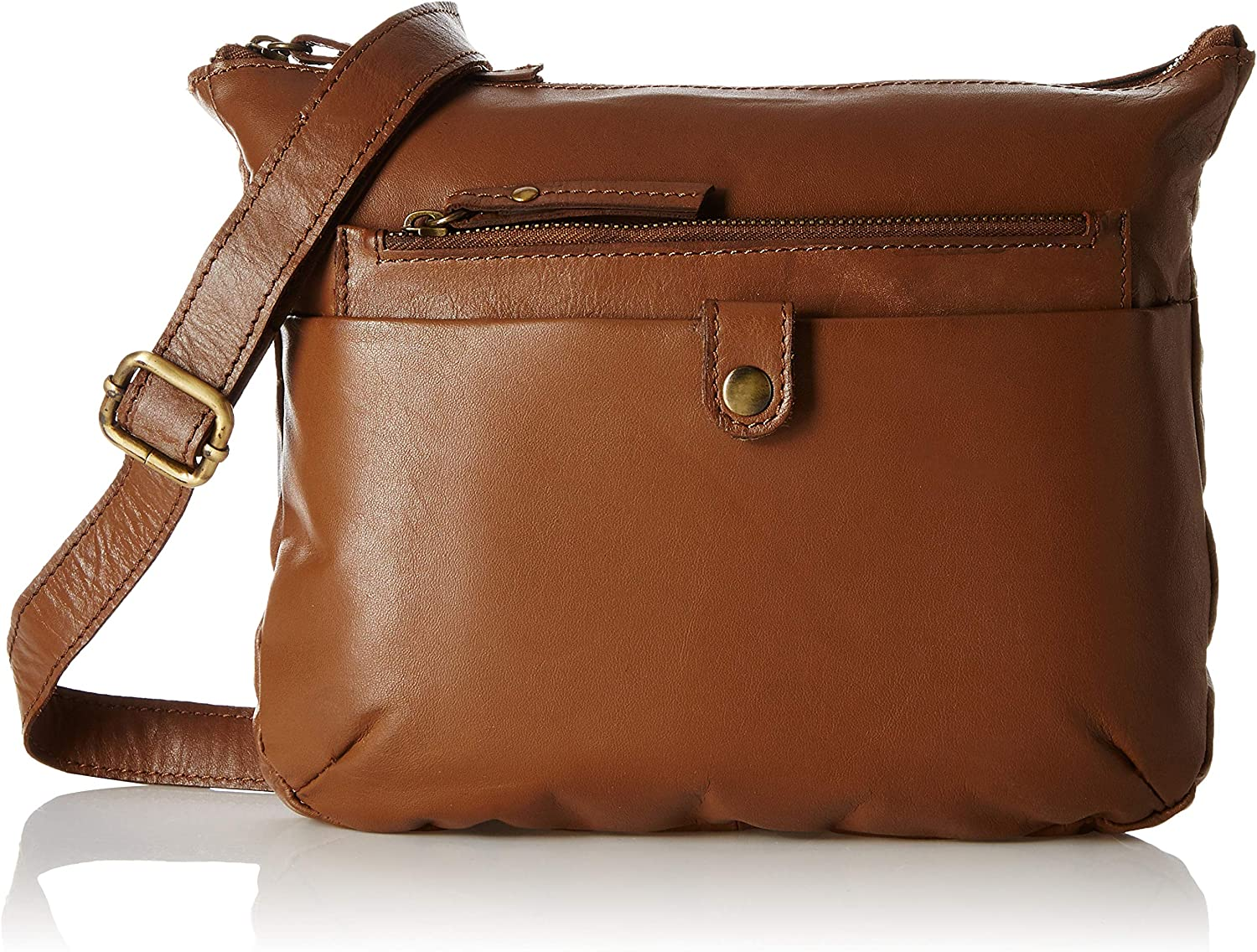 Tresori Women's Real Leather Cross Over Bag with Front Zip One Size Cognac