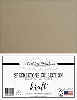 Kraft Speckletone 100% Recycled Cardstock Paper - 8.5 x 11 inch - Premium 80 LB. Cover - 25 Sheets