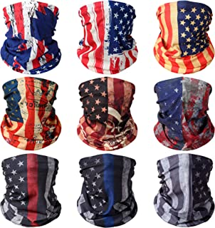 9 Pcs Neck Gaiter Face Mask Dust Wind UV Protection Scarf Sports Headwear Neck Balaclava for Men,Women
