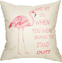 Fahrendom Why Fit in When You were Born to Stand Out Flamingo Décor Motivational Nursery Sign Decoration Cotton Linen Home Decorative Throw Pillow Case Cushion Cover for Sofa Couch 18 x 18 in