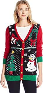 Christmas Ugly Sweater Co Womens SWP5-3410CAMZ 4 Panel Christmas Button Cardigan Sweater Cardigan Sweater