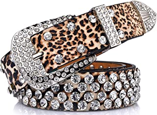 Ayli Women's Sparkling Rhinestone Studded Leather Bling Jean Belt