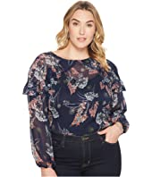 London Times - Plus Size Ruffle Cold Shoulder Top