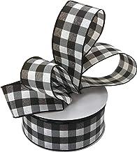 "Buffalo Check Black White Ribbon - 2 1/2"" x 50 Yards, Wired Edge Plaid Christmas Ribbon, Wreath, Farmhouse Decor, Garland,..."
