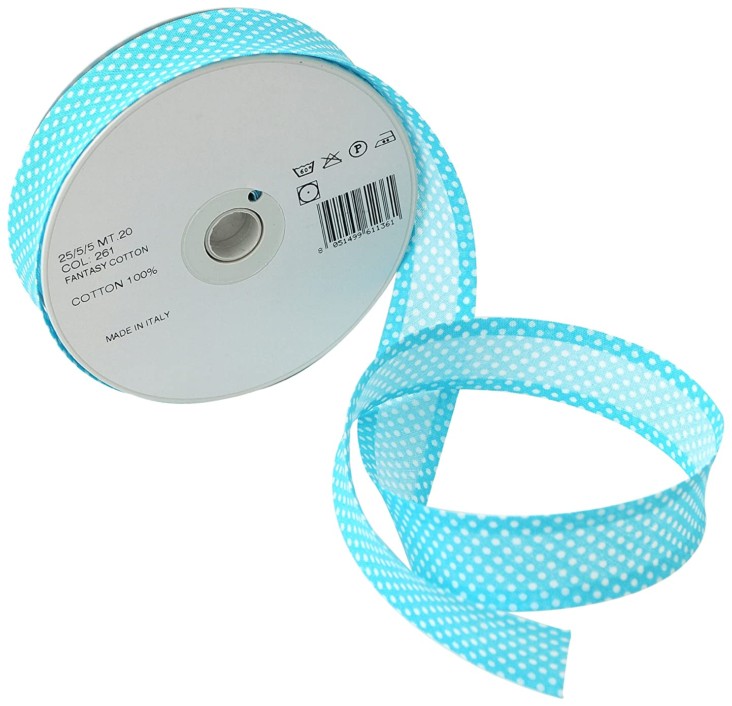 Inastri 25/ 5/ 5 mm Cotton Bias Binding in Turquoise Polka White 261 cmbzrppknwr3