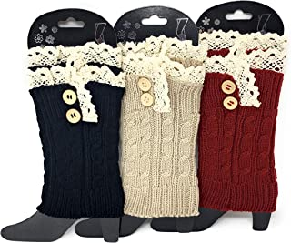 Urban Peacock Womens Knitted Boot Socks/Boot Cuffs/Short Leg Warmers - 3 Pair Packages