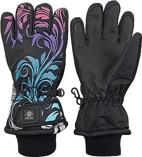 N'Ice Caps Girls Waterproof Thinsulate Fashion Design Winter Snow Ski Gloves