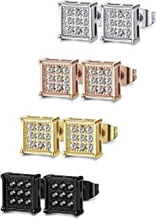 FIBO STEEL 4-8 Pairs Stainless Steel Stud Earrings for Men Women Square CZ Earrings,6-8MM