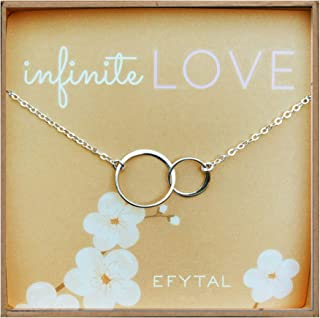 EFYTAL Gift for Girlfriend/Wife, Sterling Silver Interlocking Circles Necklace Valentine's Day, Romantic Birthday Gift Ideas