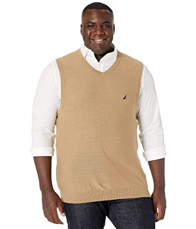 Nautica Big & Tall Big Tall Sweater V-Neck Vest (Coastal Brown) Men