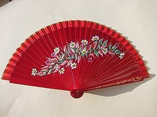 1d88216ff Abanico rojo pintado a mano de forma artesanal. Exclusivo. Ideal para  llevar en el