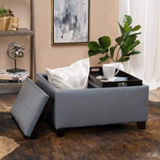 Christopher Knight Home Living Justin Grey Leather Tray Top Storage Ottoman, Gray