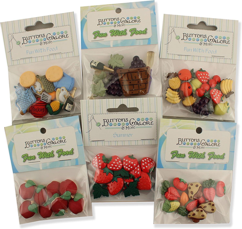 Botones Galore Alimentos Tema Packs-Set de 6