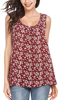 Women's Floral Print Loose Casual Flowy Tunic Tank Top