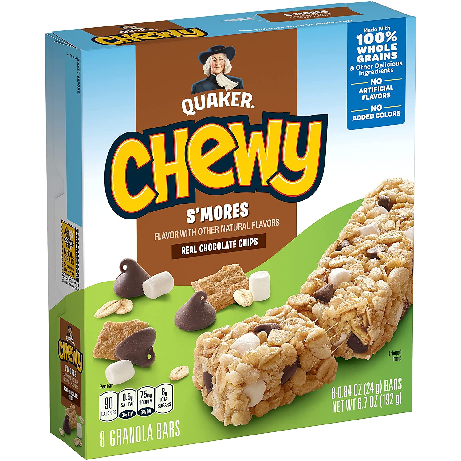 Quaker Chewy Granola Bar, S'mores, 8-Count Bars (Pack of 12)