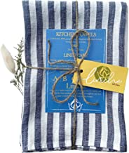 LINICHE Linen Tea Towels | Set of 2 | Made in Europe from Quality European Linen Fabric (Medium Blue Stripe, 20 x 30 inch.)