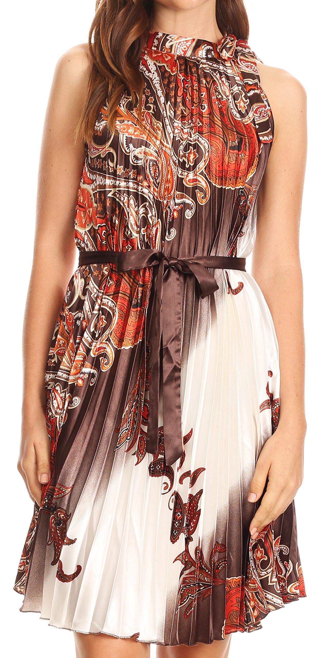 Available at Amazon: Sakkas Bettina Shift Accordion Pleated Satin Sleeveless Short Dress