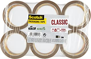 3M C5066SF6 Scotch Lot de 6 Rubans adhésif d'emballage en polypropylène 50 mm x 66 m Havane