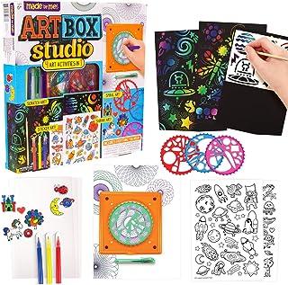 Made By Me Art Box Studio by Horizon Group USA.4 In 1 Activity Kit-Scratch Art,Spiral Art,Shrink Art & Sticker Art.Kit Inc...