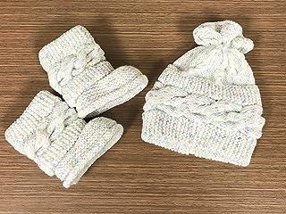 Kit de botitas y gorrito para bebé tejido a mano para lluvia o temporada de frío