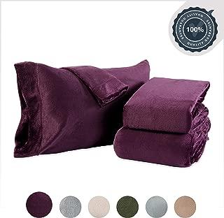 Berkshire Blanket VelvetLoft Plush Set Sheets, King, Eggplant