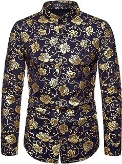 ief.G.S Men's Rose Gold Dress Shirts Long Sleeve Button-Down Shirt