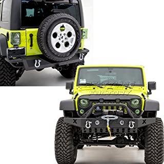 Restyling Factory -Rock Crawler Front Bumper with Skid Plate, OE Fog Lights Hole and Winch Plate+Rear Bumper with 2