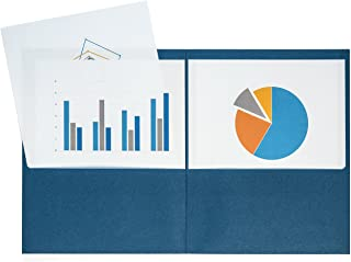 Blue Summit Supplies 25 Two Pocket Folders, Designed for Office and Classroom Use, Dark Blue, 25 Pack Colored 2 Pocket Folders