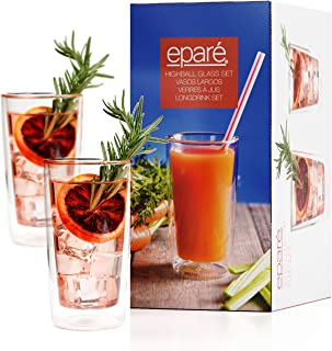 Eparé Highball Glasses - 10 oz Cocktail Glass Tumbler Set - Insulated Drinking Glassware - Iced Tea Juice Beer Drinkware
