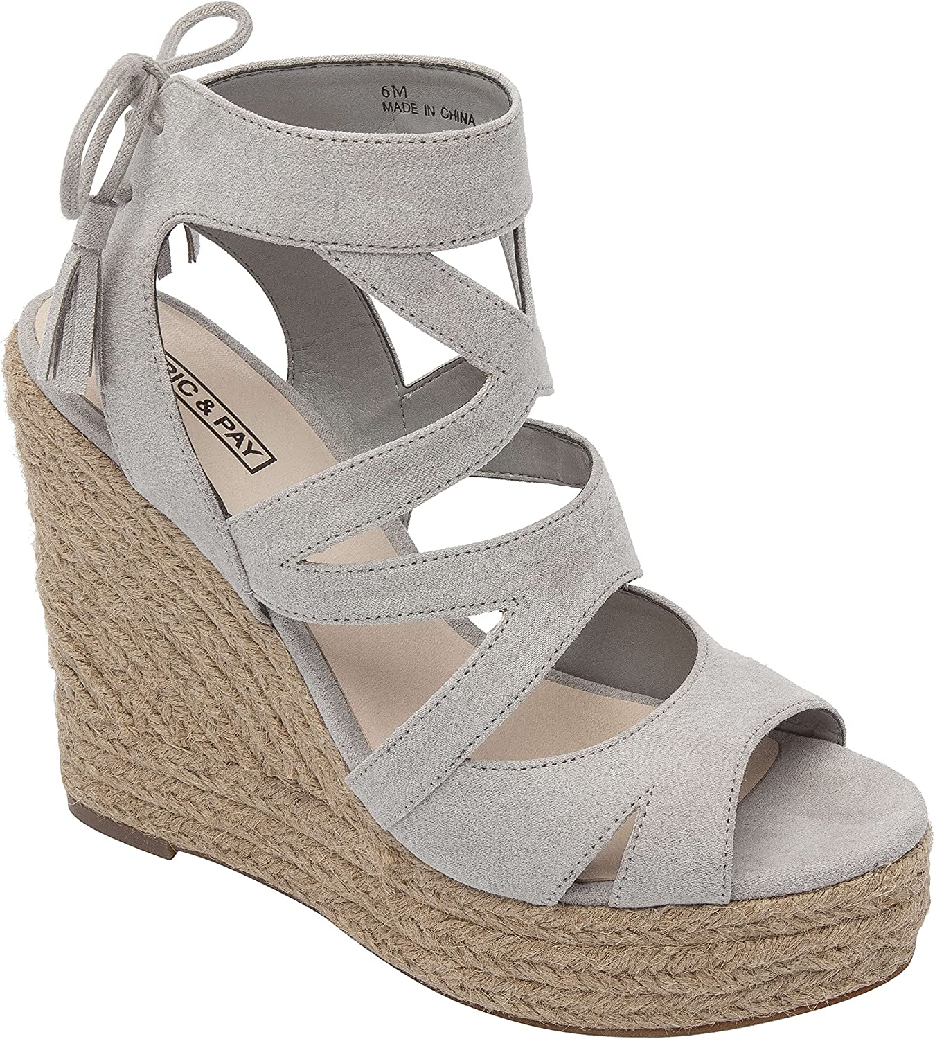 Pic & Pay Viana   Women's Comfortable High Platform Wedge Espadrille Vegan Cage Sandal Grey Vegan Suede 10M