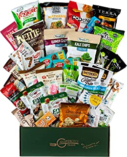 Gluten Free VEGAN College Care Package [40 Count] Plant-based Gluten Free, Dairy Free, Non-GMO Cookies, Bars, Chips, Puffs, Fruit & Nuts. Healthy Vegan Snacks Variety Pack by Snack Attack