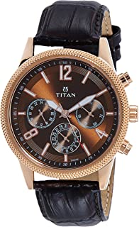 Titan Neo Analog Brass Dial Men's Watch-1734WL01