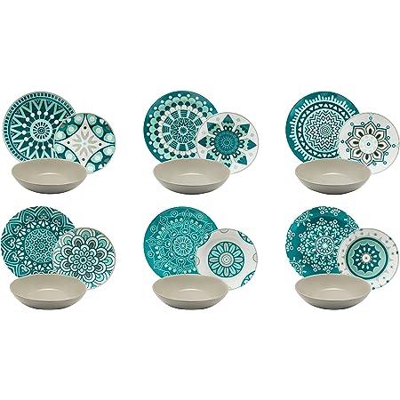Excelsa Mandala Service Assiettes 18Pièces, Porcelaine, Bleu/Gris