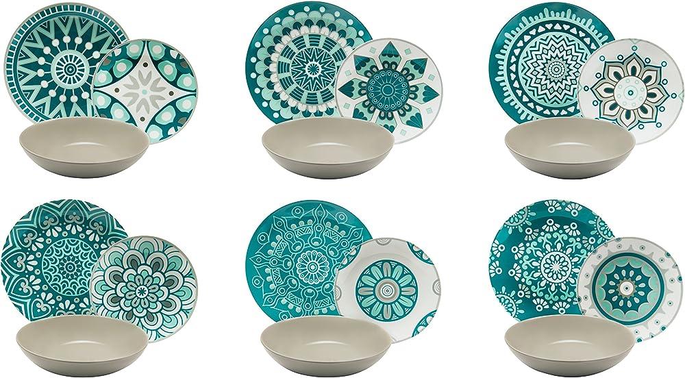 Excelsa mandala , servizio di piatti da 18 pezzi,  in porcellana multicolore 62501 1