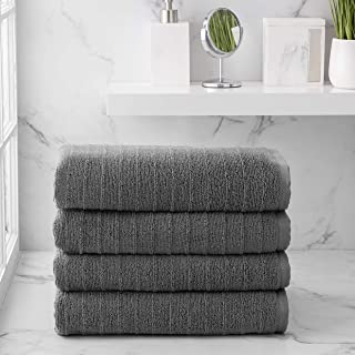 Welhome James 100% Cotton 4 Piece Bath Towels | Charcoal Grey | Stripe Textured | Supersoft & Durable | Highly Absorbent &...