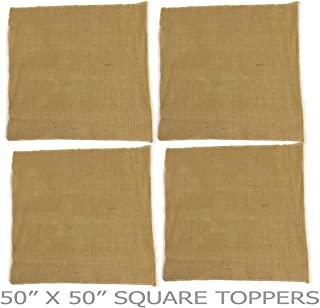 AAYU 4 pcs Pack Brand Premium Burlap Fabric Squares | 50 Inch Square, Two Sides Locked and Raw Edges Table Topper Eco-Friendly, Rustic Natural Product