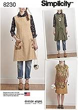 Simplicity 8230 Women's Reversible Apron Dress Sewing Pattern, 2 Styles, Sizes XS-XL