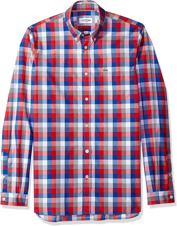 Lacoste Long Sleeve Poplin Check Button Down Collar Reg Fit Woven Shirt, CH7281