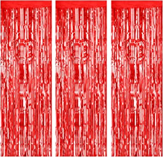 Foil Fringe Curtains Metallic Tinsel mylar curtain for Party Photo Backdrop Wedding Decor (3-Pack, Red)