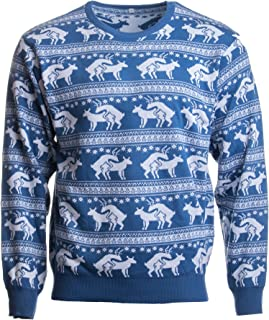 Ann Arbor T-shirt Co. Reindeer Humping Ugly Christmas Sweater w/Holiday Insertion & Christmas Dongs