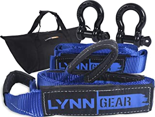LYNN GEAR - 2PK Tow & Recovery Strap (32,000+ LB Break Strength) & D Ring Shackle Combo Kit   (1) 10' Strap, (1) 30' Strap, (2) Shackles & HD Tote   Vehicle Hauling Offroad for Pickups, ATV & Trucks!