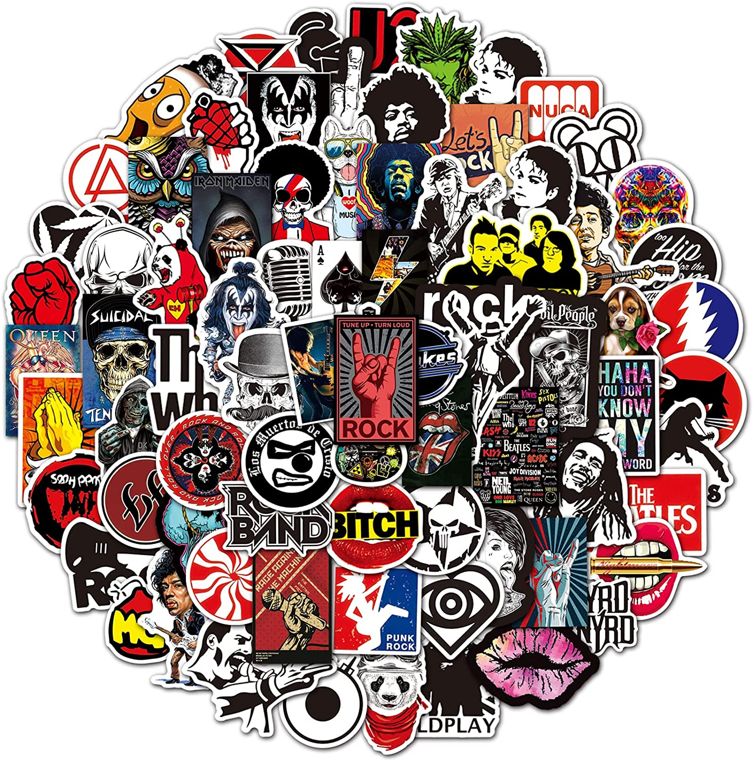 Rock Band Music Stickers 200 Pack Rock and Roll Cool Mix Stickers for Guitar Laptop Water Bottles Skateboard