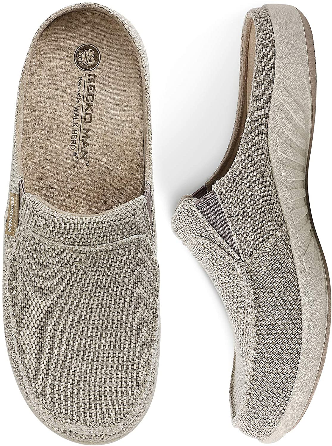 Mens Slippers with San Diego Mall Arch Support Raleigh Mall Canvas wi Men for House Slipper