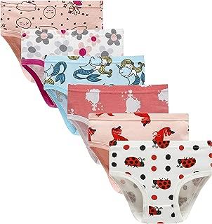 Barara King Girls' Undies 100% Cotton Panties Little Girls Soft Underwears Kids Briefs (Pack of 6) Size 5 6