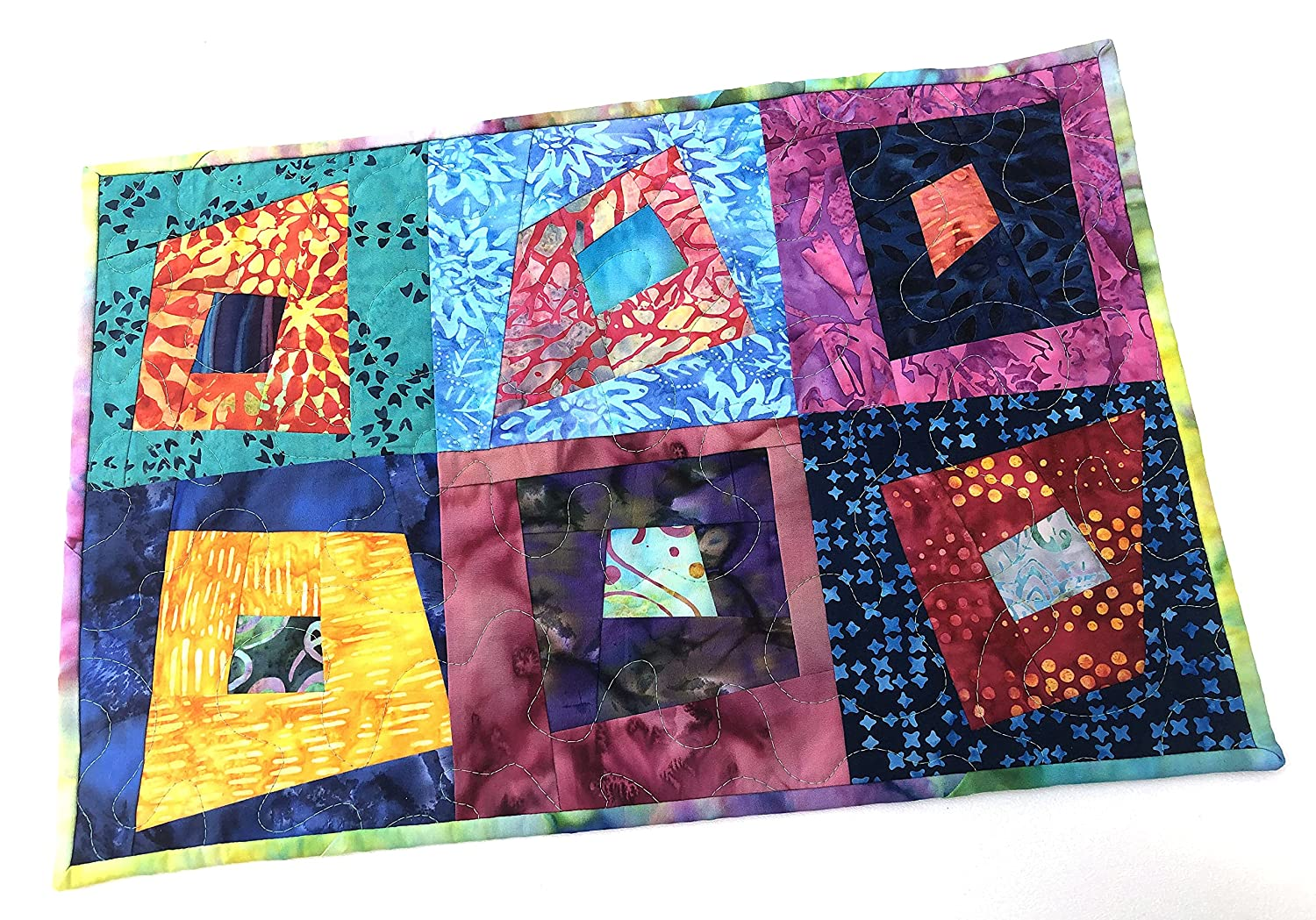 Abstract Quilted Fabric Patchwork Place Hanging Super sale period limited Cheap sale Wall Mat or