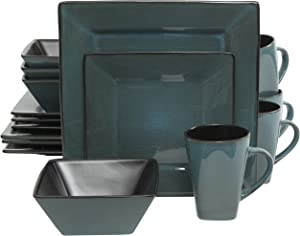 Gibson Elite 92912.16RM Kiesling 16 Piece Reactive Glaze Dinnerware Set, Blue/Black