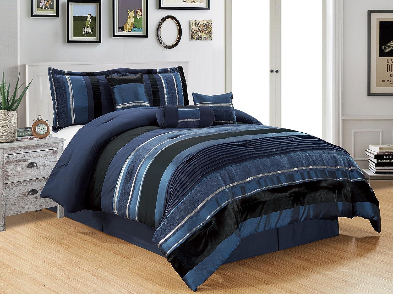 Grand Linen 7 Piece Black Silver Stripe Chenille Comforter Set 106 X 94 King Size Bedding Home Kitchen
