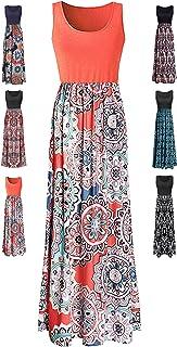 f317674194 LIYOHON Womens Summer Striped Print Loose Maxi Dress Contrast Sleeveless  Tank Top Floral Print Long Maxi